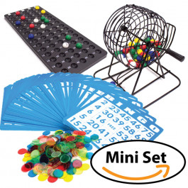 Bingo Game Set Deluxe 6-Inch Bingo Game with Colored Balls, 300 Bingo Chips and 50 Bingo Cards