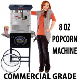 8oz Popcorn machine with cart : 5 Feet BLACK
