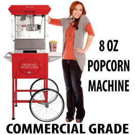 8oz Popcorn machine with cart : 5 Feet RED