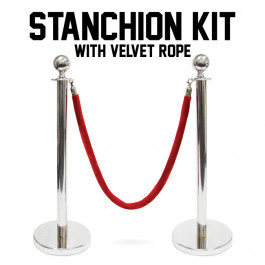Stanchion Kit Silver with 4.5-foot Red Velvet Rope and 3-foot Ball Top
