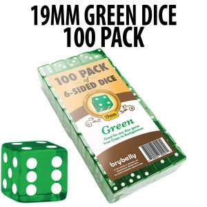 PACK OF 100 19mm Green Dice