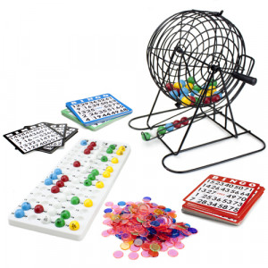 Bingo Game Set Deluxe JUMBO  9-Inch Bingo Game with Colored Balls, 500 Bingo Chips and 100 Bingo Cards