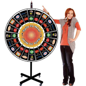 Prize Wheel 48 Inch Large Giant Pocket Insert Customizable  with X Shaped Base