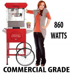 8oz Popcorn machine with cart : 5 Feet RED