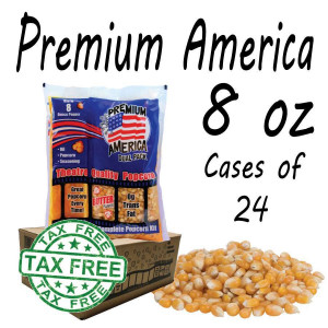 Premium America Theatre Quality Popcorn packs 8oz Case of 24