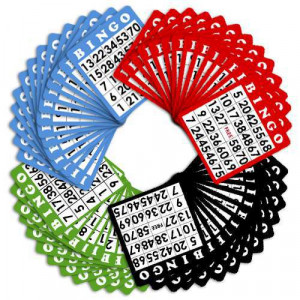100 Pack of Bingo Cards (Four Different Colors)