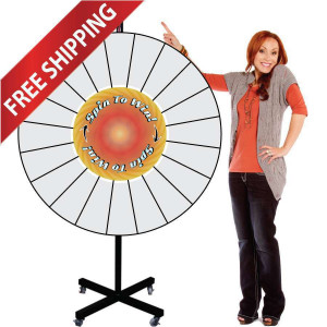 48 Inch Pocket Insert Customizable Giant Prize Wheel with X Shaped Base