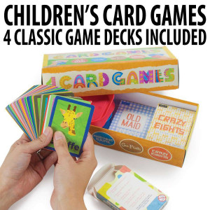 Set of 4 Classic Children's Card Games with 2 Card Holders