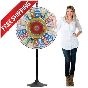 36 Inch Pocket Insert Customizable Prize Wheel with Bonus Extension Base