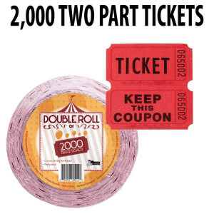Raffle Tickets 2000 ct Double Roll Tickets - Red