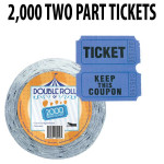 Raffle Tickets 2000 ct Double Roll Tickets - Blue